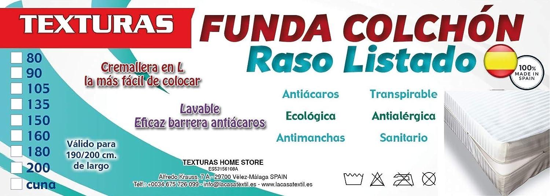 TEXTURAS HOME - Funda de Colchón Raso Cuty Listado Cremallera (Varios tamaños disponibles)  (Cuna_120_x_60_cm): Amazon.es: Hogar