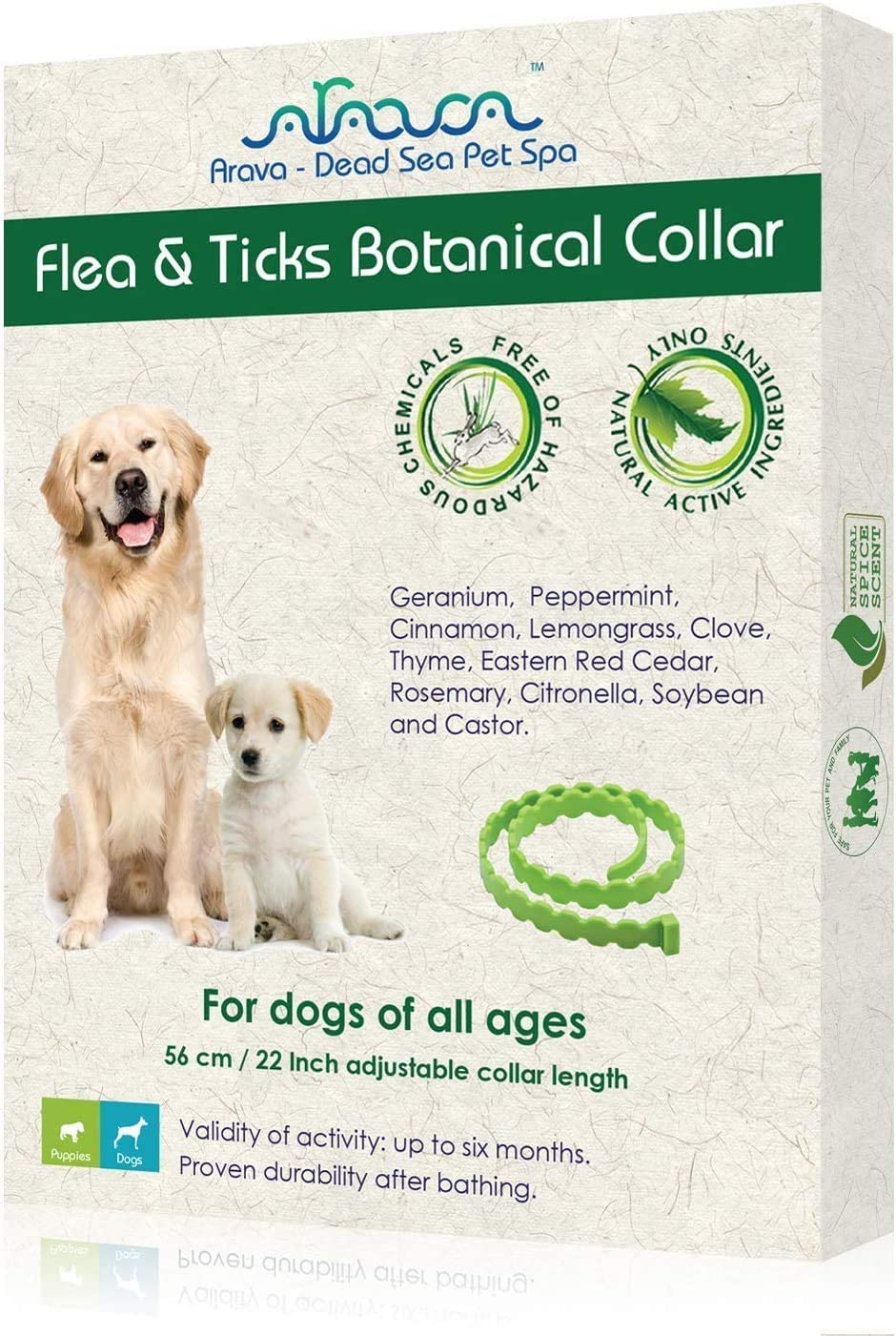 Arava Flea & Tick Prevention Collar - for Dogs & Puppies - Length-25'' - 11 Natural Active Ingredients - Safe for Babies & Pets - Safely Repels Pests - Enhanced Control & Defense - 6 Months Protection