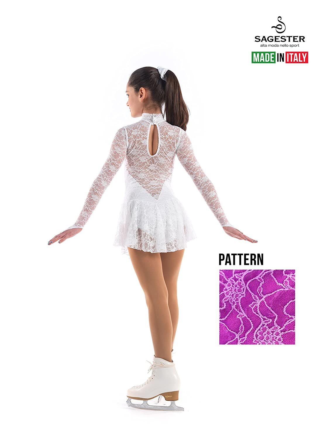 Dancing Sagester # 120 Skin Italy Hand-Made//Leotard for Figure Ice Skating