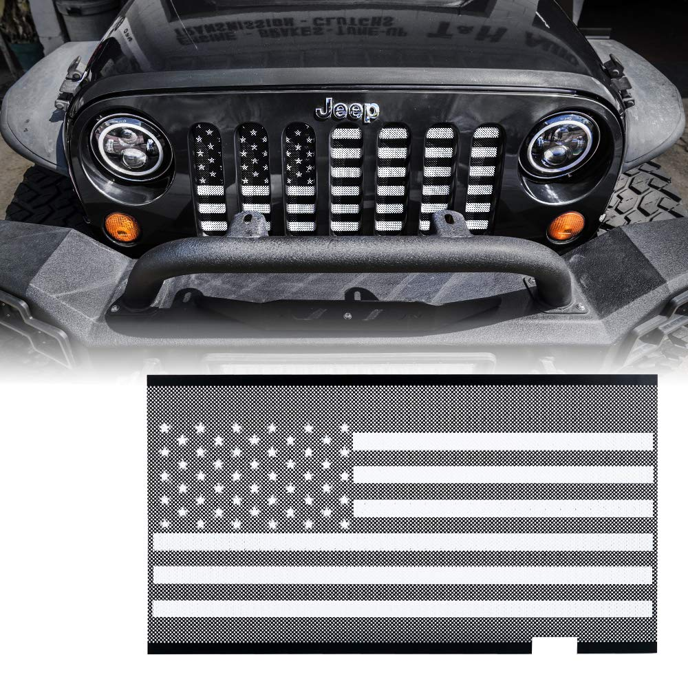 Xprite Mesh Grille Insert with Firefighter Red Stripe for 2007-2018 Jeep Wrangler JK Stock Grille
