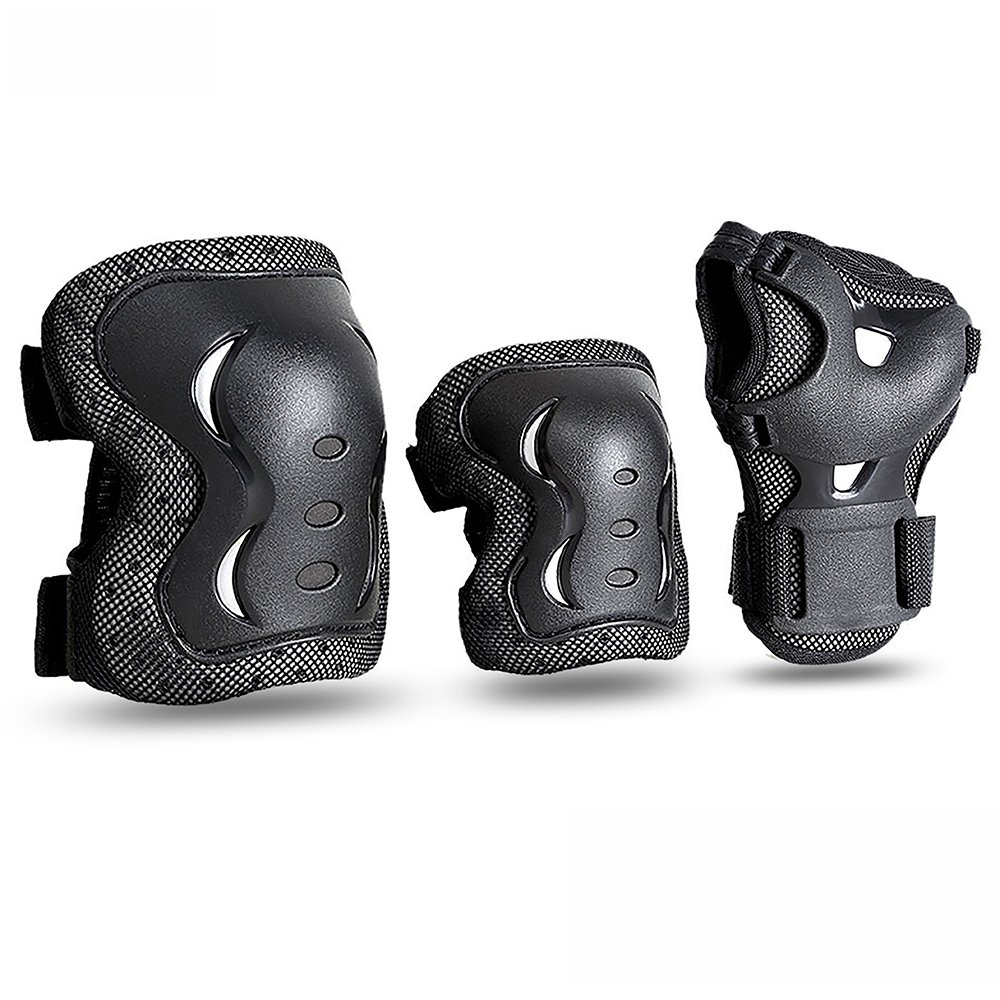 JBM Kids & Adults Cycling Roller Skating Knee Elbow Wrist Protective Pads-Black/Adjustable Size, Suitable for Skateboard, Biking, Mini Bike Riding and Other Extreme Sports