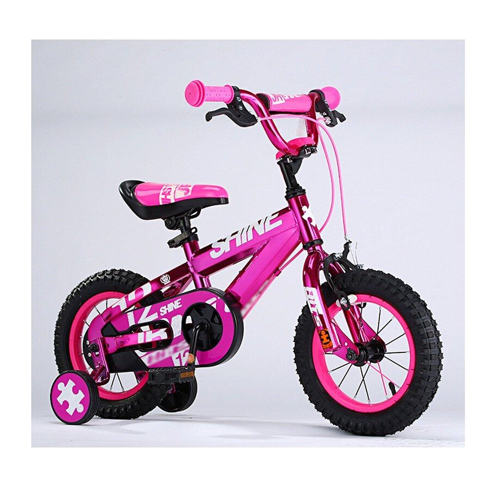 HAIZHEN マウンテンバイク 子供用自転車 トレーニングホイール付きの少年の自転車と少女の自転車 12インチ、14インチ、16インチ、18インチ アウトドアアウト 新生児 B07CCK5LC4 16 inch|ピンク ぴんく ピンク ぴんく 16 inch