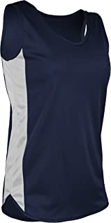 product image for TR-980W-CB Women's Athletic Lightweight Single Ply Track Singlet with Side Panels (Large, Navy/White)