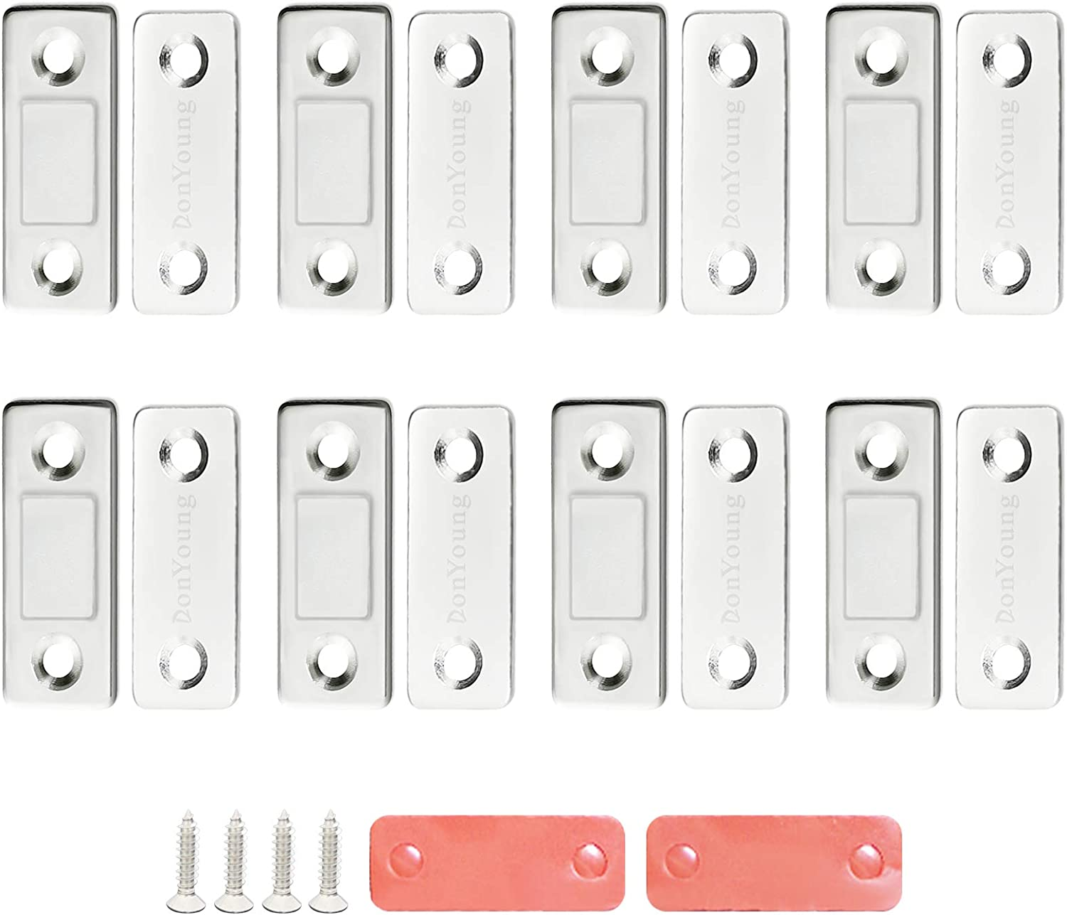 DonYoung Magnetic Door Catch, 8 Pack Ultra Thin Cabinet Magnetic Catch with Strong Adhesive Sticker Slim Drawer Magnets Locks Furniture Safety Latches for Kitchen Cupboard Closet Sliding Door Closure