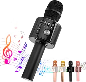 Ankuka Bluetooth Karaoke Microphone, 3 in 1 Multi-Function Handheld Wireless Karaoke Machine for Kids, Portable Mic Speaker Home, Party Singing Compatible with iPhone/Android/PC (Black)