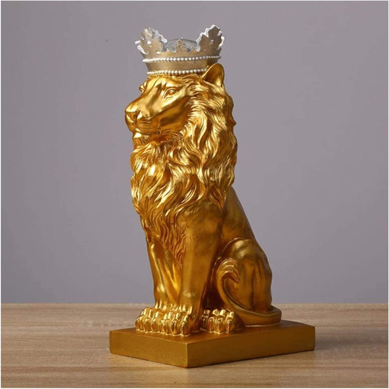 Figurine Sculpture Ornament Statue Crown Golden Lion Statue Animal Figure Modern Resin Black/White Decoration Sculpture Crafts Desk Home (Color: Silver)