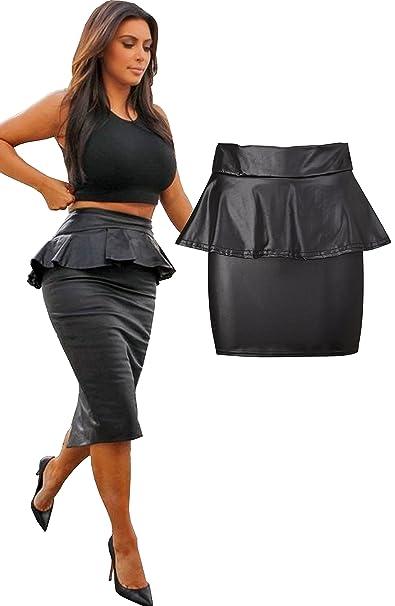 a2529c3ff5 AS Fashion Womens Wet Look Peplum Midi Knee Length Pencil Skirt - Ladies  Leather Look Shiny