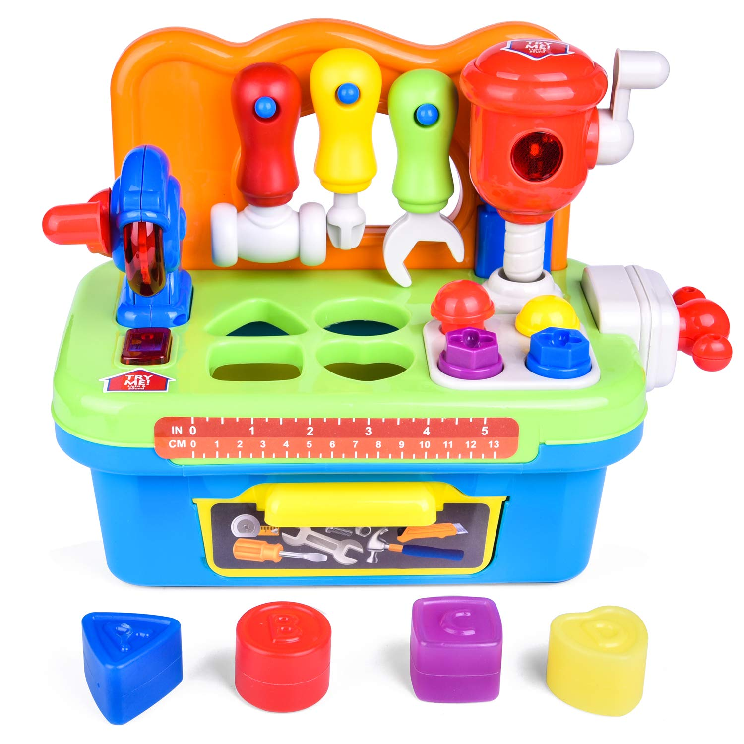 Musical Tool Toys, Workbench Toy for Kids, Construction Toy Tool Kit with Sound and Music, Activity Center for Kids with Shape Sorter by FUN LITTLE TOYS