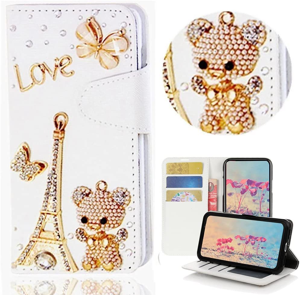 STENES iPod Touch (6th Generation) Case - Stylish - 3D Handmade Bling Crystal Eiffel Tower Bear Butterfly Wallet Credit Card Slots Fold Media Stand Leather Case for iPod Touch 5/6th Generation - Gold