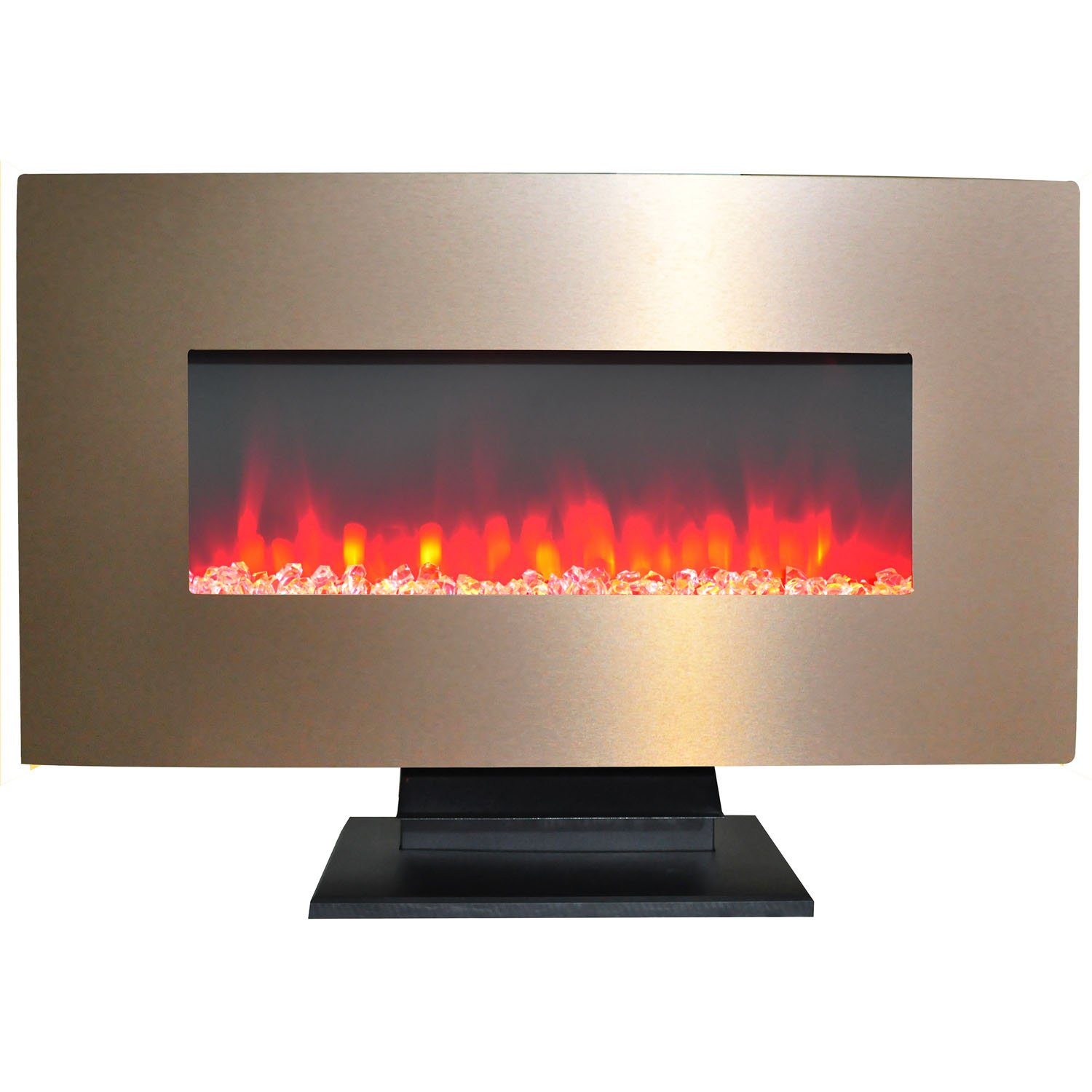 Cambridge CAM36WMEF-1BR 36 In. Metallic Electric Fireplace in Bronze with Multi-Color Crystal Rock Display