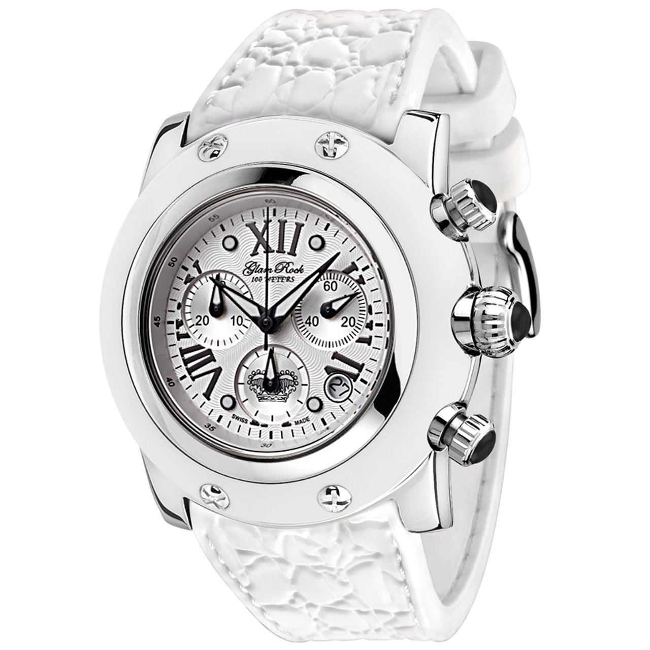 Glam Rock Women's GR30108WW Summer Time Collection Chronograph White Silicone Watch