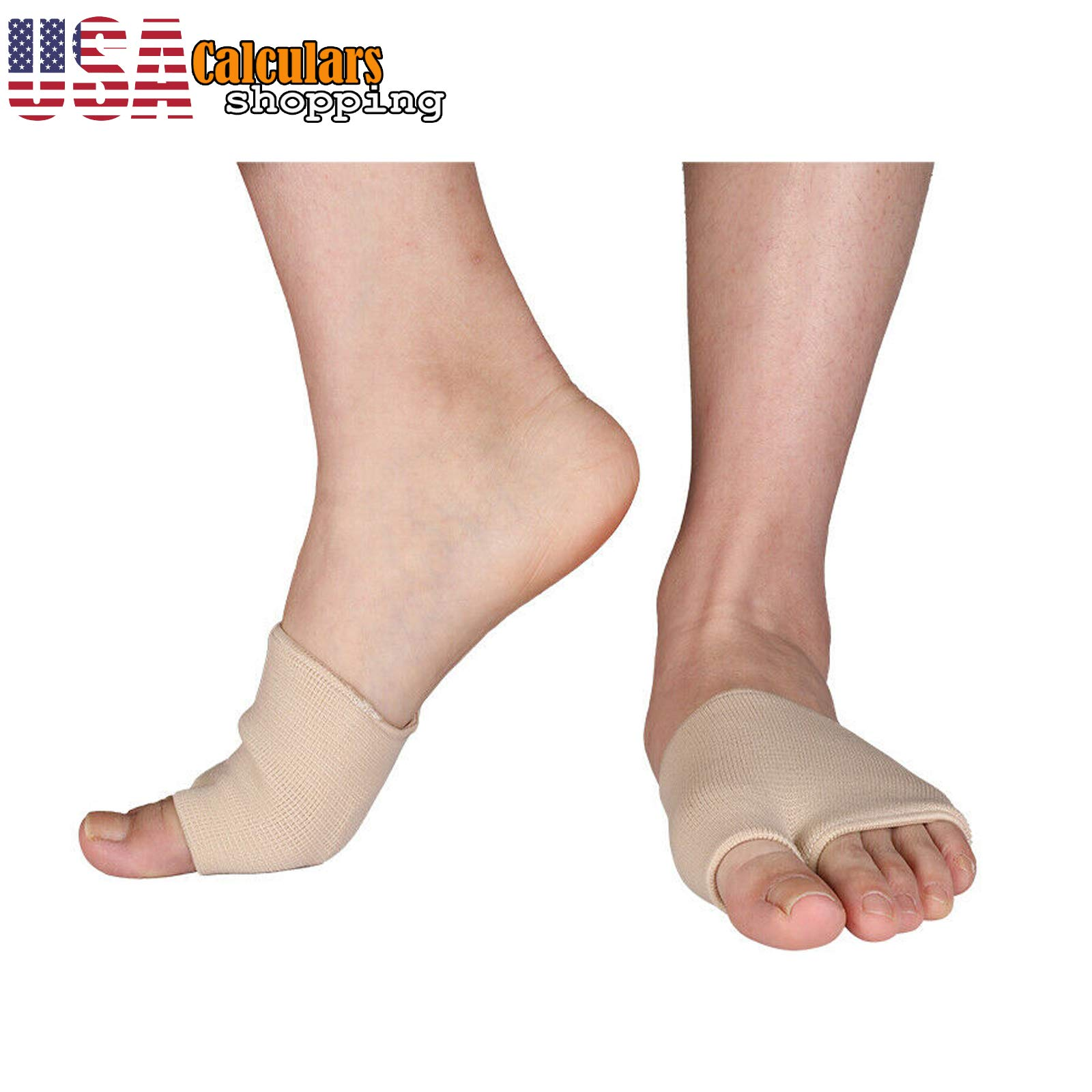 US Seller 2 Pairs Fabric Metatarsal Sleeve Ball of Foot Cushion Gel Pads for Men and Women by Calculars