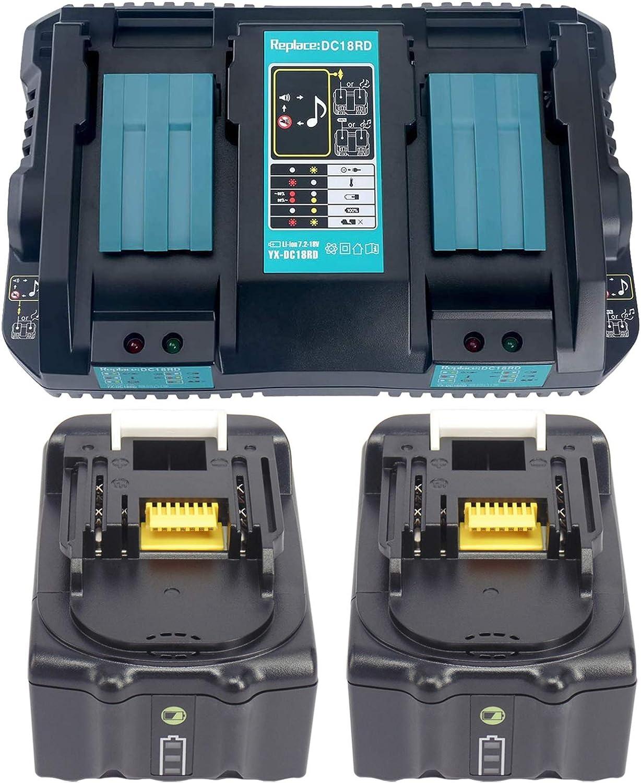 Cargador doble de 2 compartimento Cargador rápido para Makita DC18RD DC18RA DC18RC & 2 x Batería para Makita 18 V 5 Ah BL1850B BL1830 BL1840 BL1850 [Cargador 7.2 V-18 Vcon bl1850B 18 V 5.0 Ah]