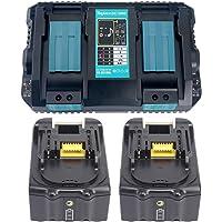 2x 18V 5.0Ah BL1850 Batteri med Laddare DC18RD 2-delad Dubbel Snabbladdare för Makita BL1830 BL1840 BL1850B, Makita…