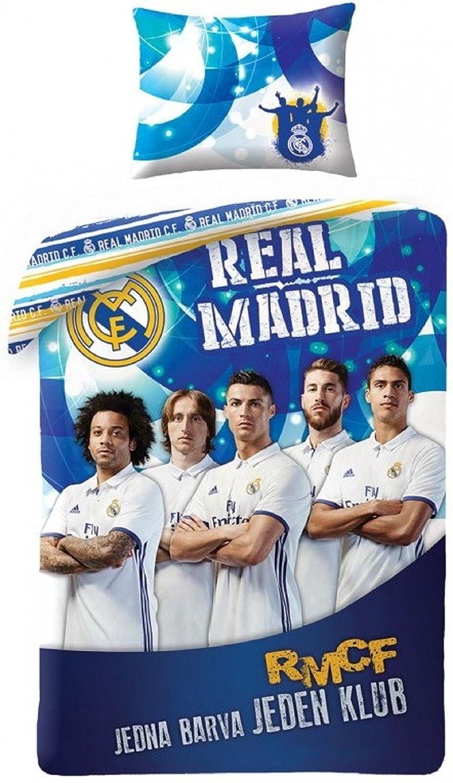 Ronaldo Housse DE Couette Parure DE Lit Real Madrid Club CR7 100% Coton