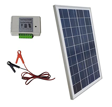 ECO-WORTHY 12 Volt 25 Watt Solar Kits: 1pc 25W Polycrystalline Solar Panel  with 3 Feet Wire + 30A Battery Clips with 6 Feet Extension Cable + 3A