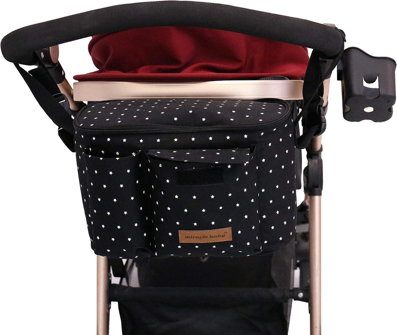 Bolsa Organizadora de Cochecitos para Mamá,Bolsa Carrito Bebe Súper Liviana, Multifuncional de Gran Capacidad para Almacenar 38,5 x 20,1 x 7,7 cm (Negro)