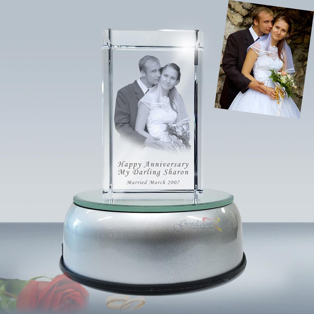 3D Crystal Photo Etching Cube with Rotate LED Lighted Base, Custom Laser Engraved Picture in Glass Gift Set by Goodcount 3x2x5