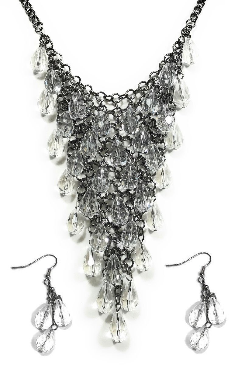 Dave's Collections Trendy Crystal Bead Mesh Teardrop Collar Statement Jewelry Earring Necklace Set