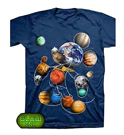 5d4f7b040cf81 Disney Adult Planet Mickey Mouse Glow in The Dark Ink T Shirt - Navy