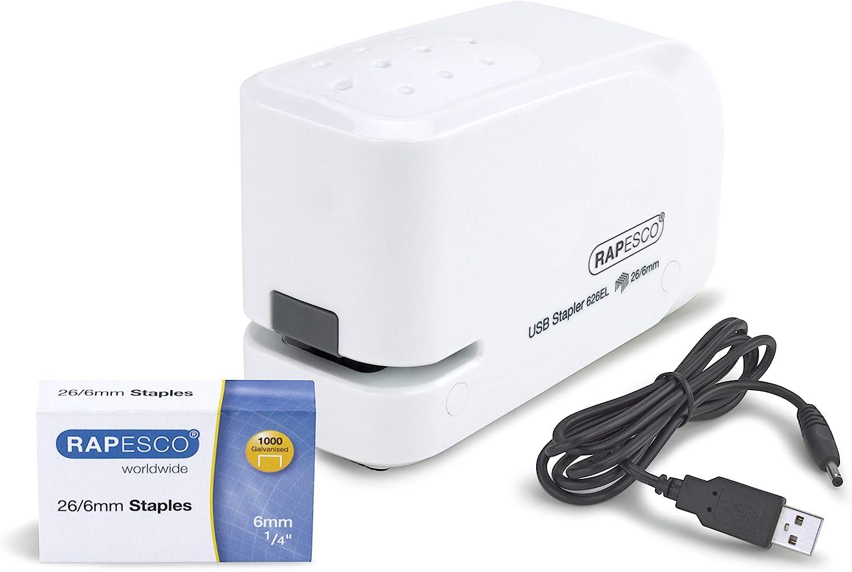 Rapesco 626EL - Grapadora eléctrica, conexión USB o pilas, blanca.