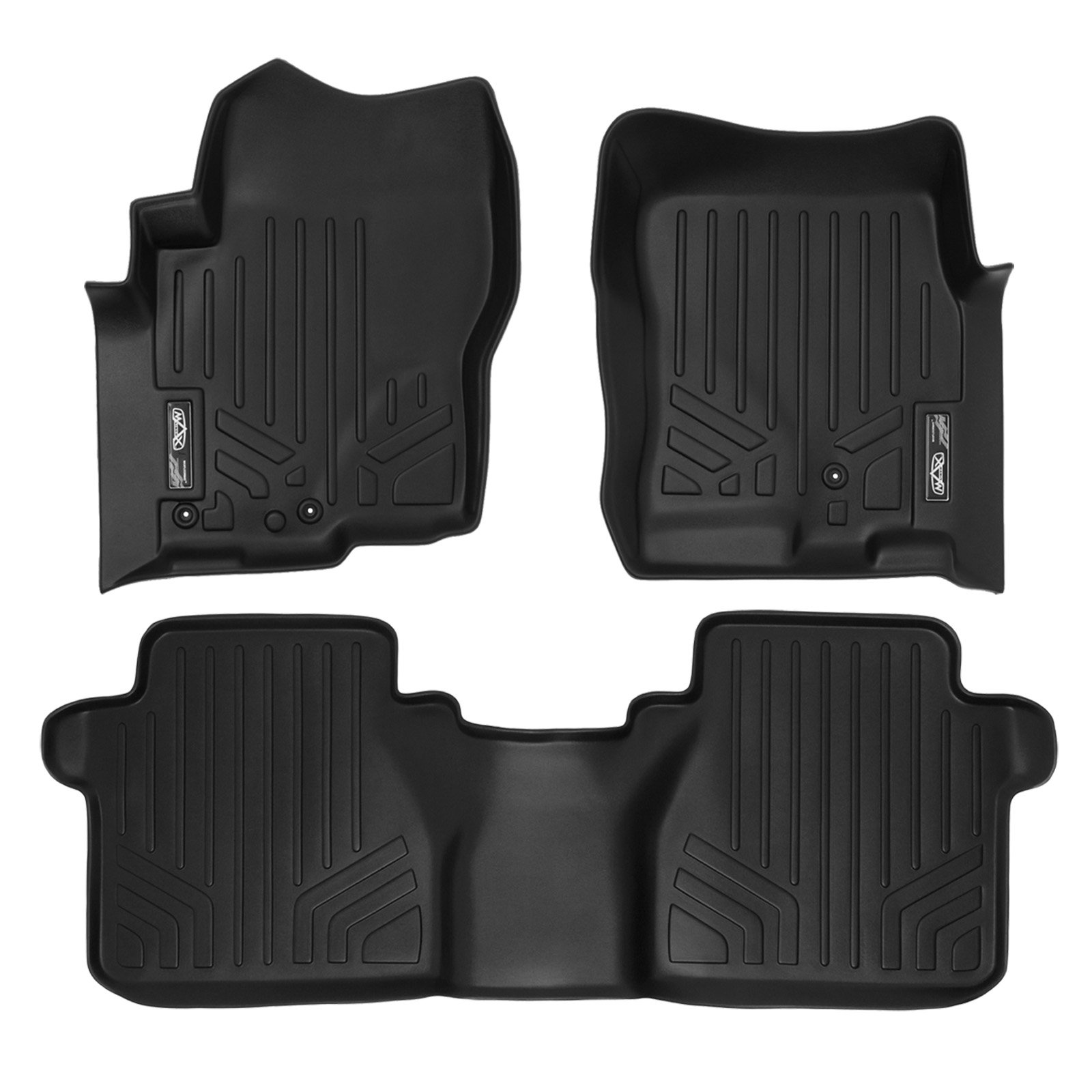 MAX LINER A0121/B0121 Custom Mats 2 Row Liner Set Black for 2008-2019 Nissan Frontier Crew Cab with Dual Drivers Side Floor Posts