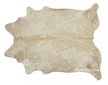 Champagne Brazilian Cowhide Rug Cow Hide Skin Leather Area Rug: XL