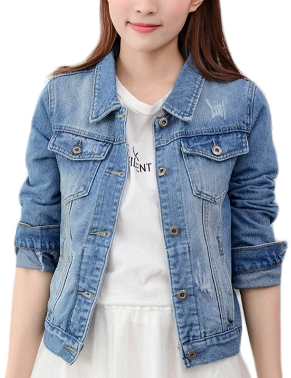 Yeokou Women's Casual Lapel Slim Jean Denim Short Jacket Coat