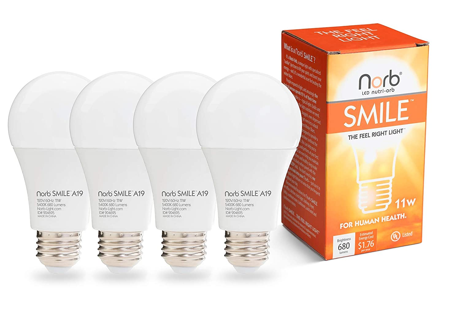 "NorbSMILE Advanced Full Spectrum A19 LED Light Bulb, Natural Sunlike Spectrum, Supplements SAD Light, Supports Circadian Rhythm, Happy Mood, Energy Performance,""The Feel Right Light"""