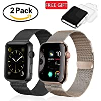 (2 Pack) Le Sourire Compatible for Apple Watch Band 40mm 38mm, Stainless Steel Mesh Sport Wristband Loop for Series 4,3,2,1, Black & Rose Gold, 2X Screen Protector As Gift