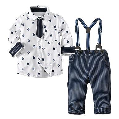 80957bf4ad2b4 LMMVP 1PC Ensemble Bébé Garçon Baptême Barboteuse T-Shirt Courte Manche  Shorts Costume Cravate Vêtements