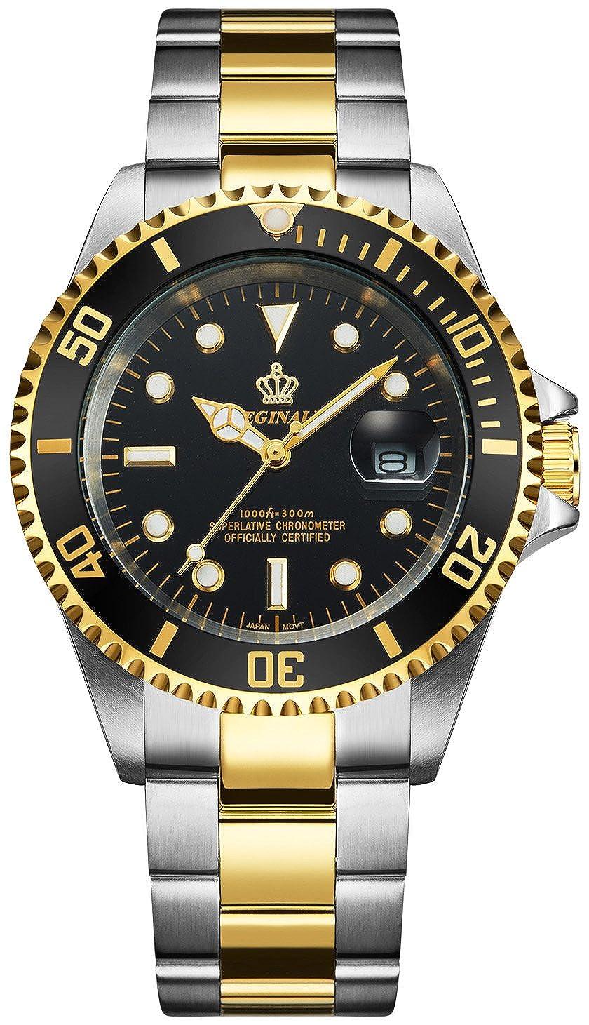 Mens Luxury Watches Ceramic Bezel Sapphire Glass Luminous Quartz Silver Gold Two Tone Stainless Steel Watch