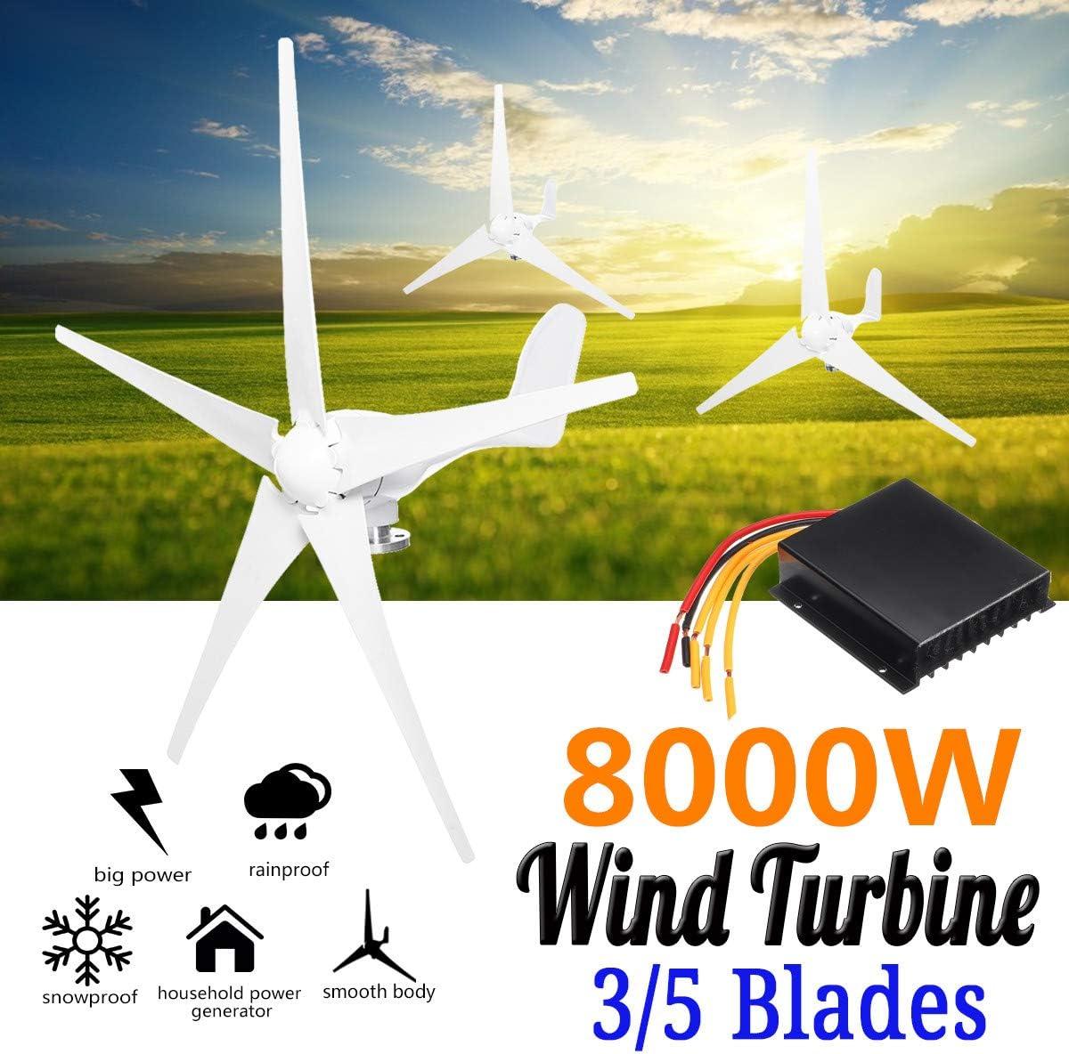 WANG Las turbinas de Viento generador Kit, 8000W 12V / 24V 3/5 Lamas horizontales generador de Viento del Molino de Viento con el regulador de energía Turbinas de Carga,24v: Amazon.es: Deportes y