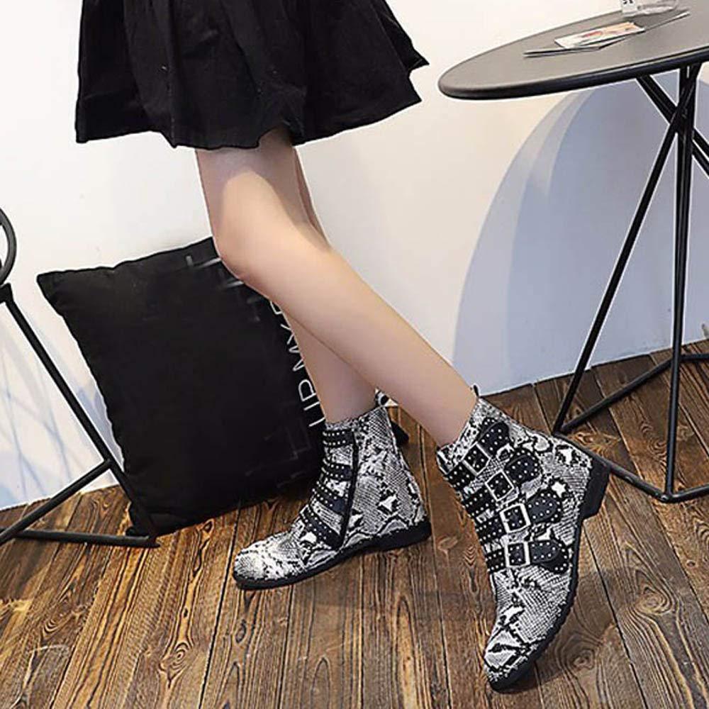 ❤ Botas de Moda de Mujer de Piel de Serpiente, Zapatos de Damas de Mujer Hebilla de Piel de Serpiente Motocicleta Fresca Botas de botín Corto Absolute: ...