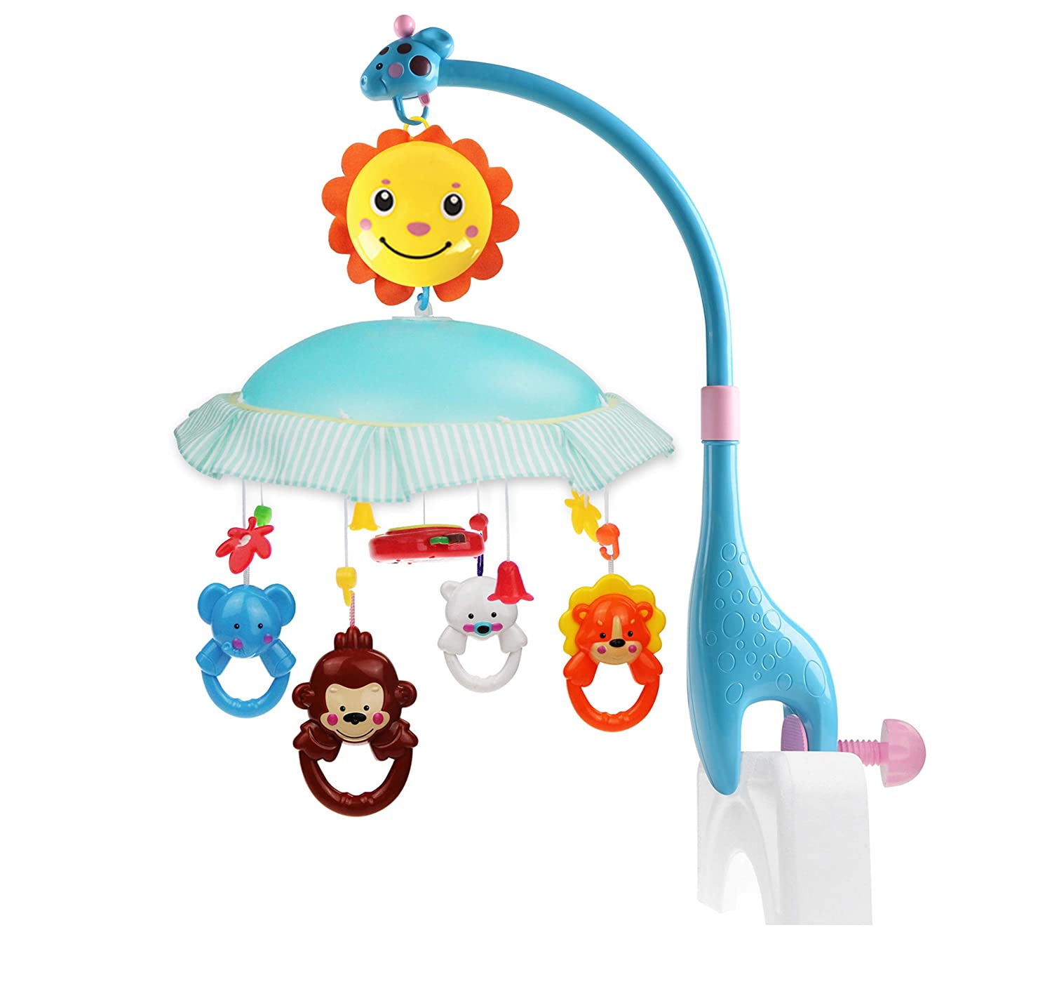 Multifunctional Infant Mobile for Cot,Musical Crib Toys Baby Kids Crib Mobile Bed Bell Sound Toys Rotating Animals Soothers Little Bambino Sunny Gary Giraffe