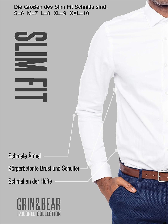 Grin/&Bear Camicia Uomo per LUfficio e Il Tempo Libero in 3 Diversi Tagli SH333 da Extra Slim Fit a Regular