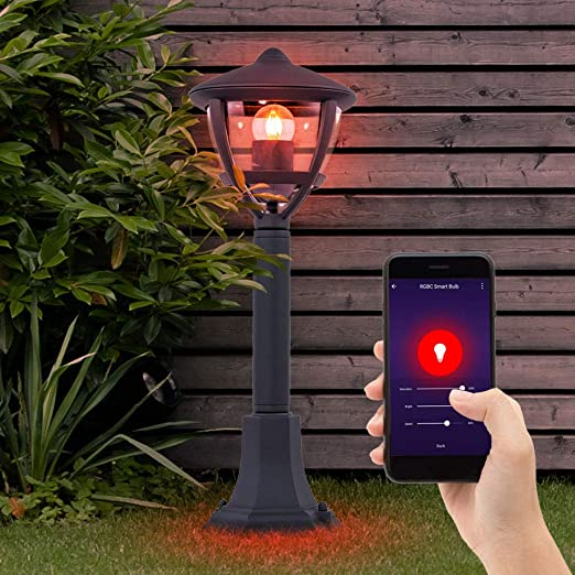 LED Außen Steh Lampe Hof ALU Sockel Leuchten Smart Home RGB Alexa Google DIMMBAR