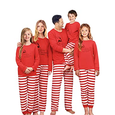 2ea3516be4b7 Family Matching Christmas Pajama Set Xmas Pyjamas Sleepwear Pjs Cotton  Stripe (Kids 2T)