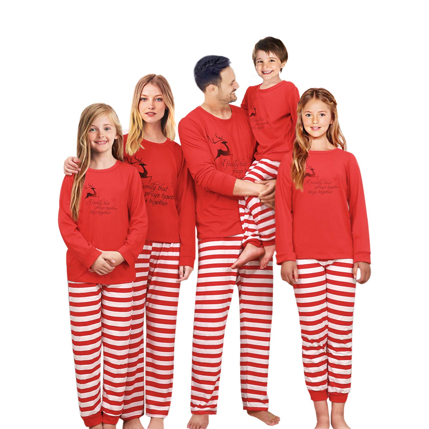 Galleon - Family Matching Christmas Pajama Set Xmas Pyjamas Sleepwear Pjs  Cotton Stripe (Women XL) 44a3b6834