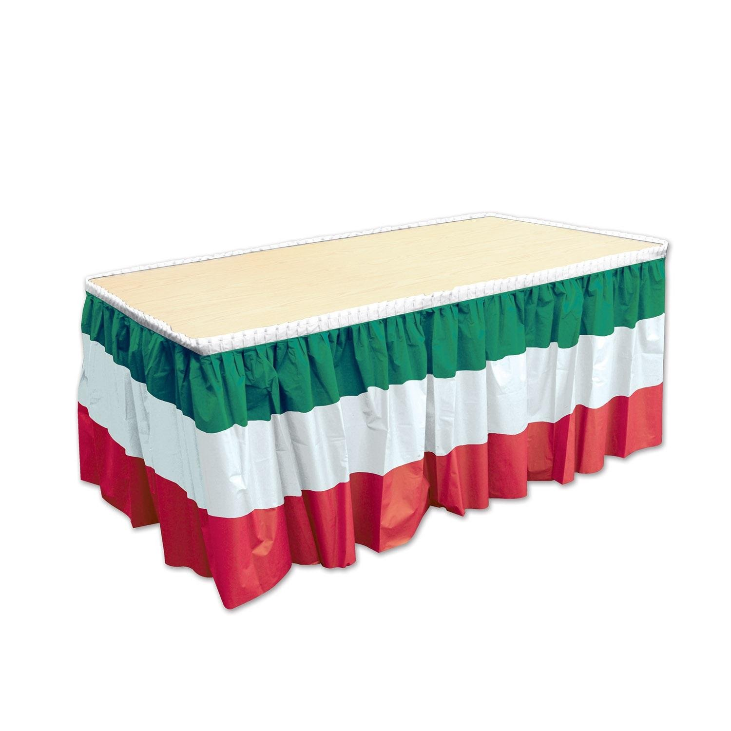 Pack of 6 Red, White and Green Italian Decorative Plastic Table Skirtings 14' White and Green Italian Decorative Plastic Table Skirtings 14' Party Central