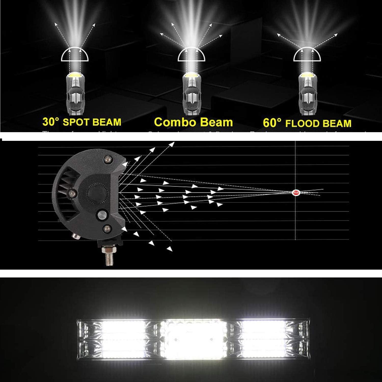 AUXTINGS 38 cm 216W Triple rang/ée 7d Barre lumineuse LED de travail spot inondation Combo Faisceau DC 12 V-24 V 6000 K Offroad V/éhicules 4 x 4 ATV Utvs