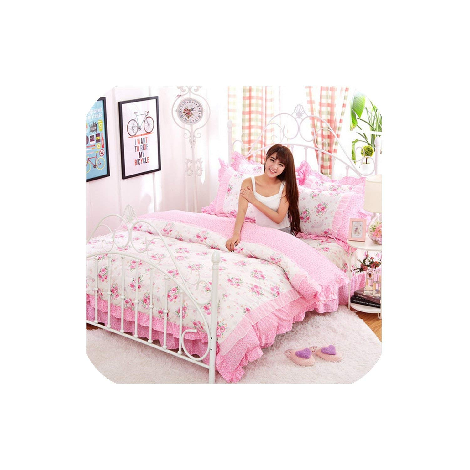 LOVE-JING Pink Lace Korean Bedding Set 4Pcs Bedspread Beautiful Princess Style Kid Girls Twin Full Queen King Size Bed Skirt Duvet Covers,Style1,Queen 4Pcs