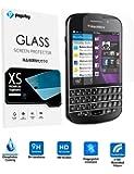 Blackberry Q10 強化ガラスフィルム PopSky™採用0.26mm 強化ガラス ラウンドカッティング 硬度9H ラウンドエッジ加工 Blackberry Q10フルスクリーン耐指紋 撥油性 高透過率液晶保護フィルム (Blackberry Q10)