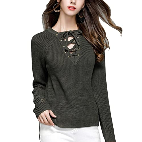 Zhuhaitf Agradable Quality Special V Collar Knitted Womens Sweater Shirts with Strap Design