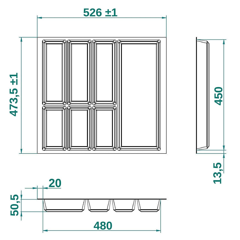 473,5 x 426 mm ORGA-BOX/® IV UNIVERSAL zuschneidbarer Besteckeinsatz Besteckkasten silbergrau f/ür 50er Schublade