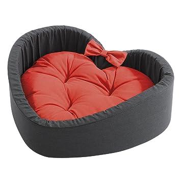 Ferplast 82973099 algodón cama Cuore para gatos - con forma de corazón, S, medidas: 42 x 38 x 14 cm, color negro/rojo: Amazon.es: Productos para mascotas