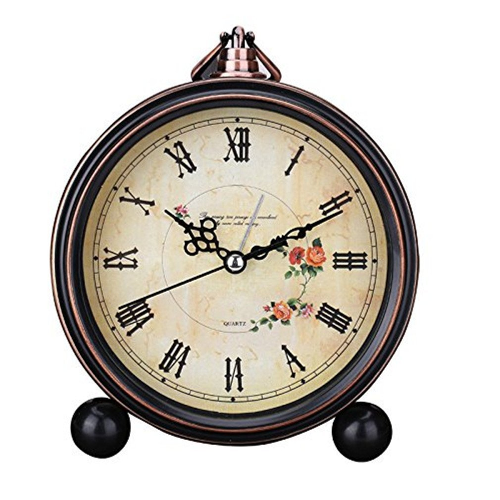 Sincek 5 inch Beautiful Butterfly Pattern Alarm Clock Desktop Clock Table Clocks Retro Vintage Home Decoration Desk Clock Silent Quartz European style Wall Clock