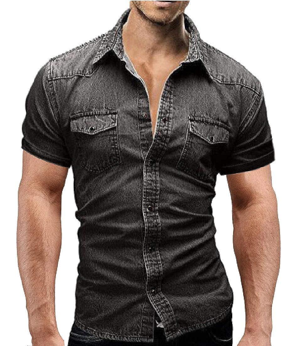 Unastar Mens Buttoned Slim Fitted Pocket Casual Short-Sleeve Denim T-Shirts