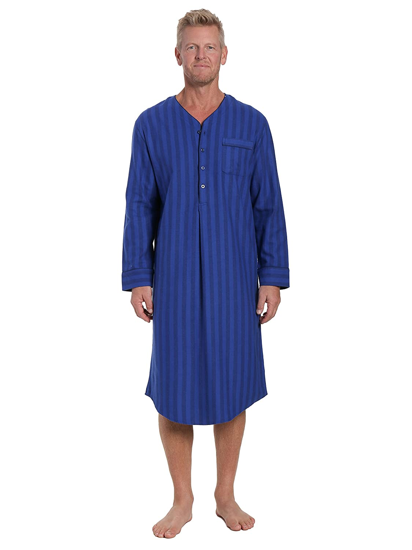 Noble Mount Mens 100% Cotton Flannel Nightshirt