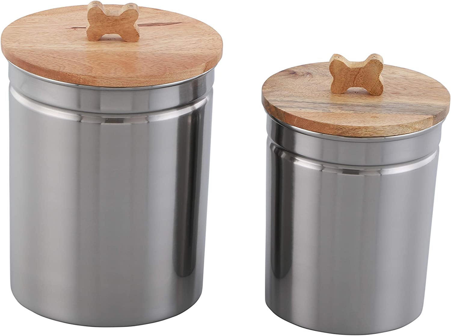 ARTISANS VILLAGE Pet Canisters Fresh Dry Dog & Cat Food Storage Container Stainless Steel for Pet Food, and Bird Seed, Set of 2, Shine
